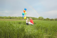 rainbow & balloons, post adoption family picture